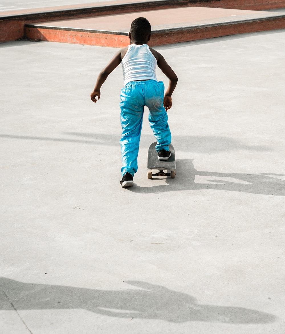 boy playing skateboard