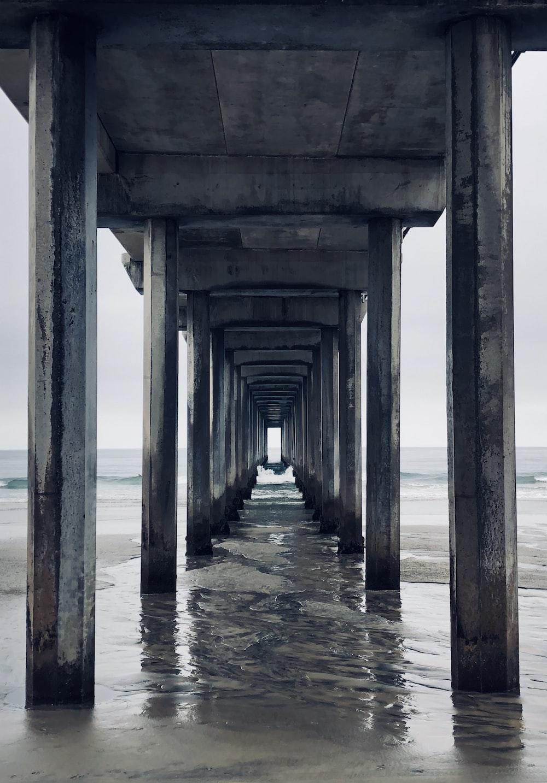 photo of gray concrete bridge base \