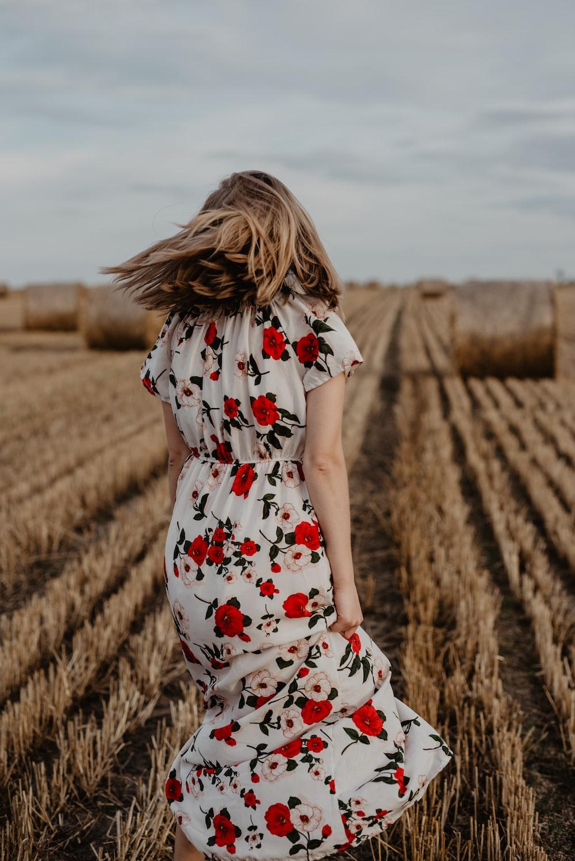 woman in crop field