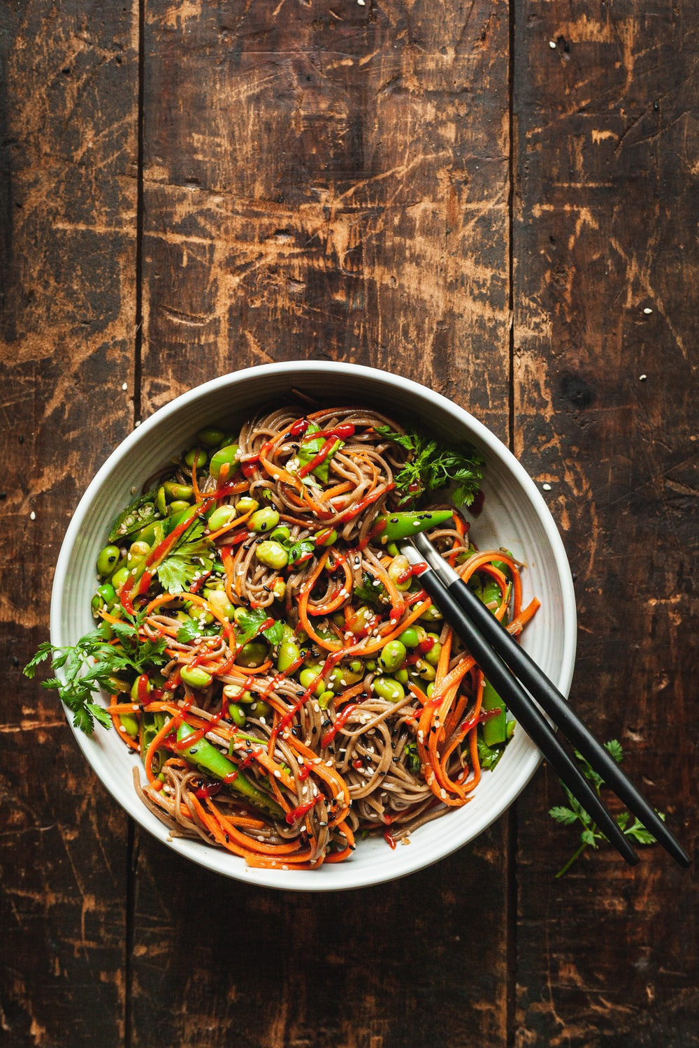 noodle dish in white bowl