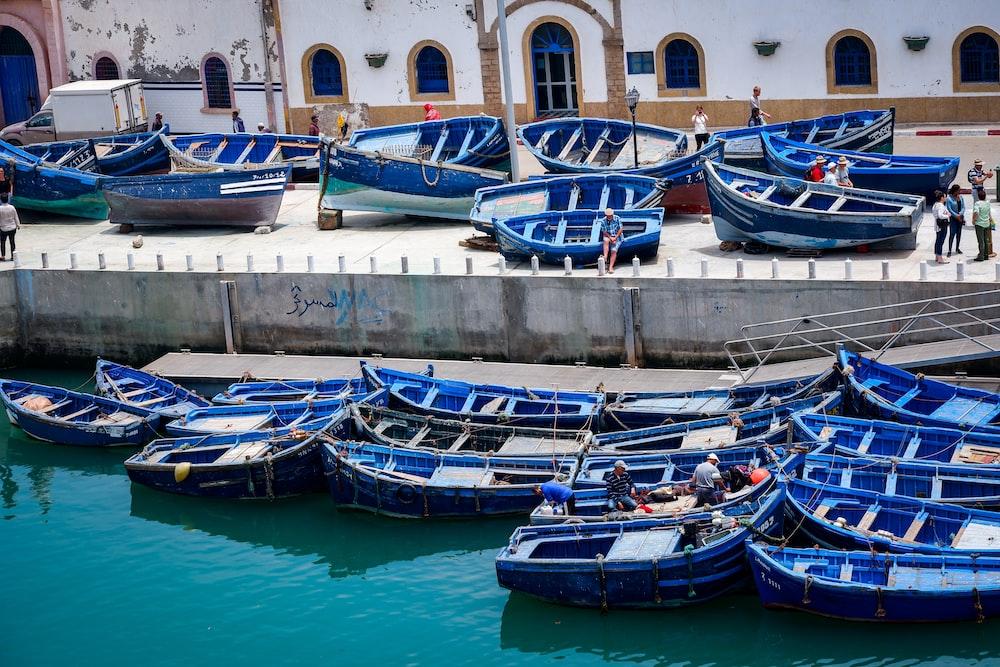 blue wooden boat lot