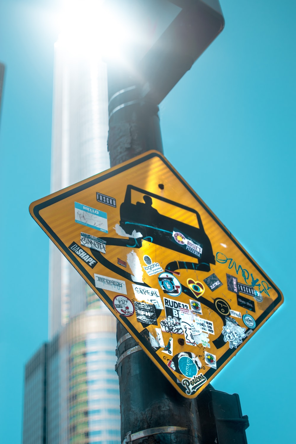 curve road ahead signage with stickers
