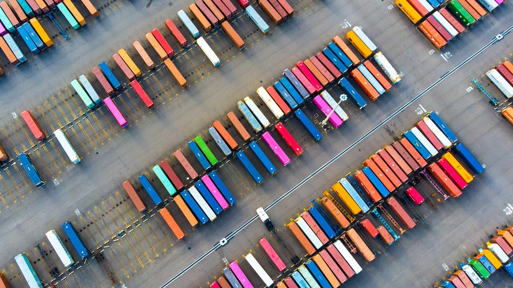 top view of colorful metal containers