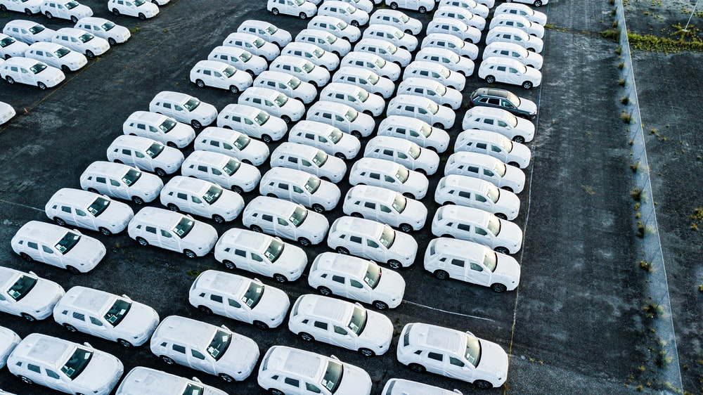 parked white cars