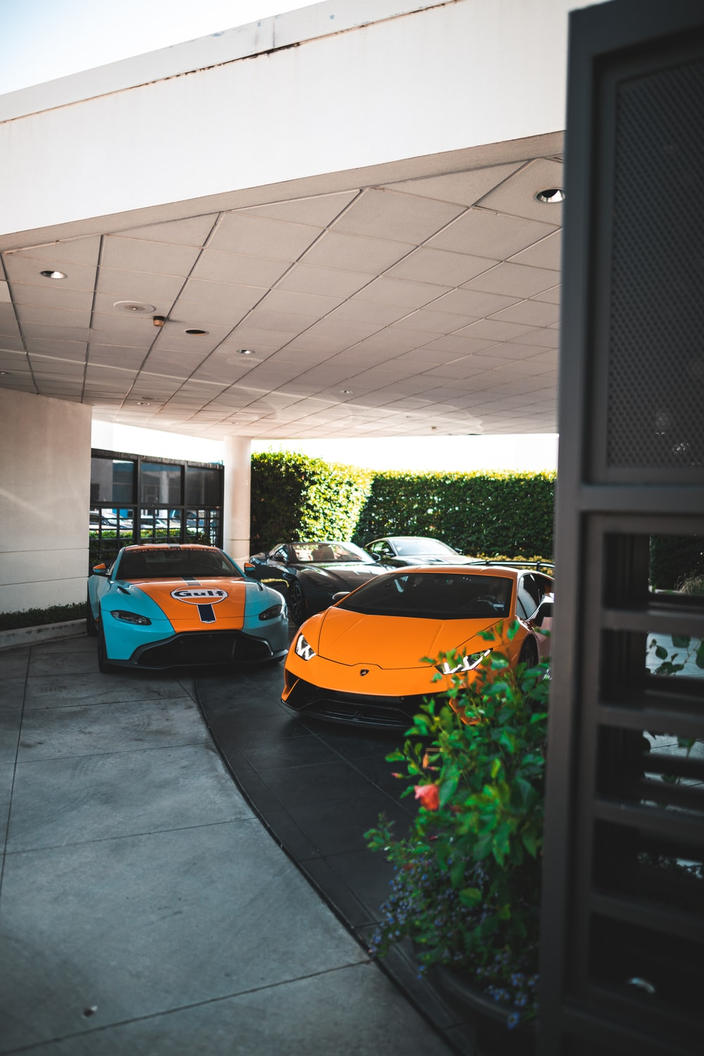 four sports cars in assorted colors