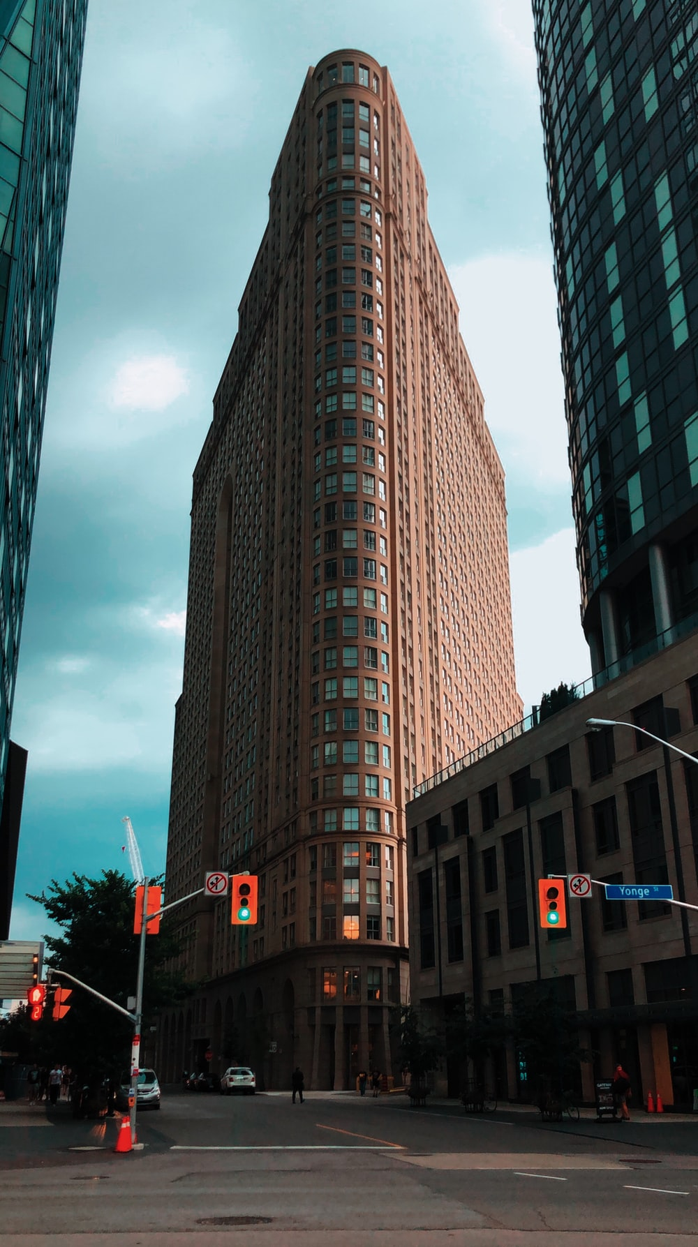 triangular brown building