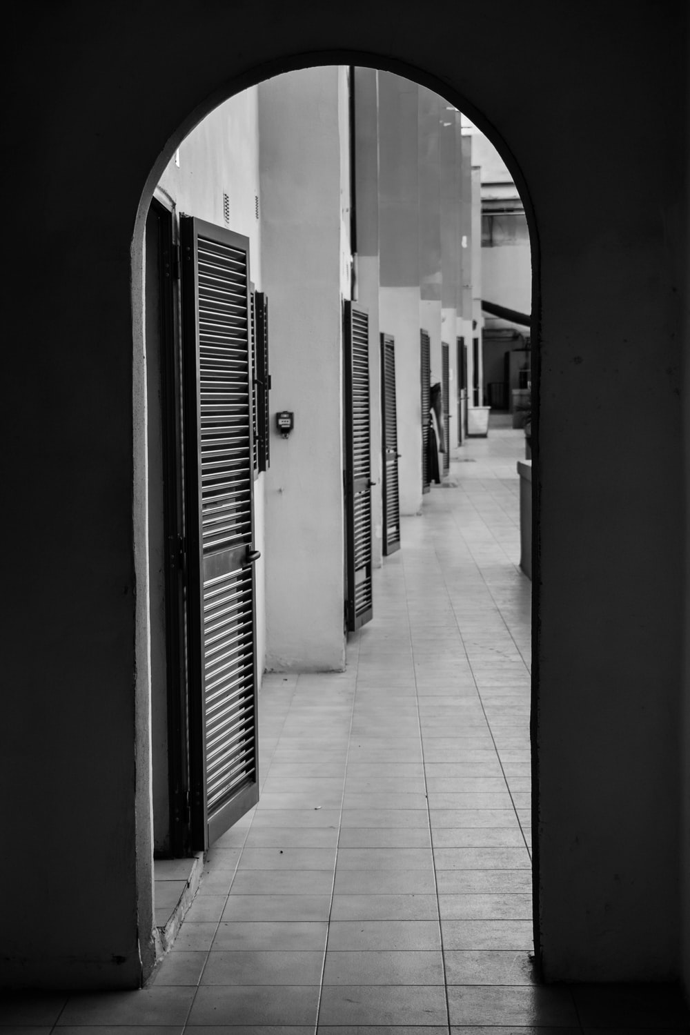 grayscale photography of wooden doors