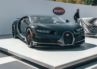 black and gray Bucatti sports car