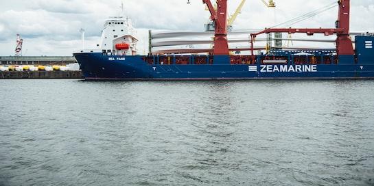The Rhode Island-based fishing vessel Virginia Marise near the Block Island Wind Farm. Deepwater Wind photo.