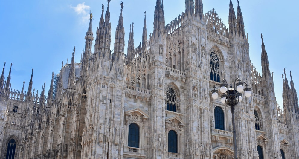 low-angle photography of Milan Cathedral