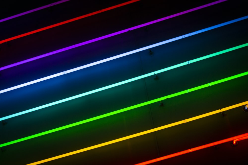 green, orange, red, blue, and purple striped lights
