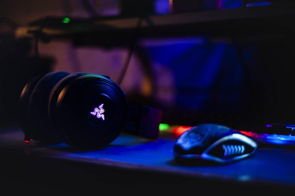 Razer headset near computer mouse