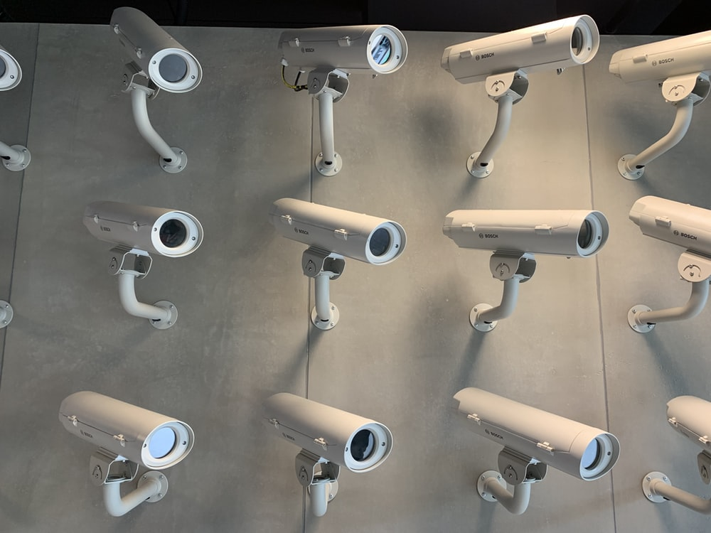 white bullet security camera lot