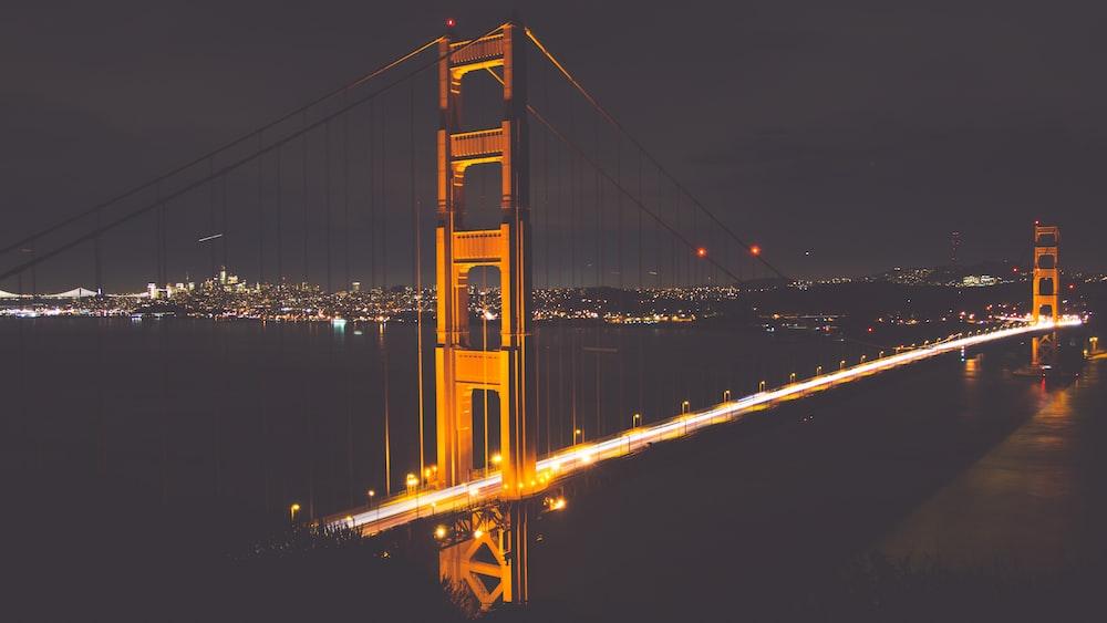 lighted Golden Gate Bridge during nighttime