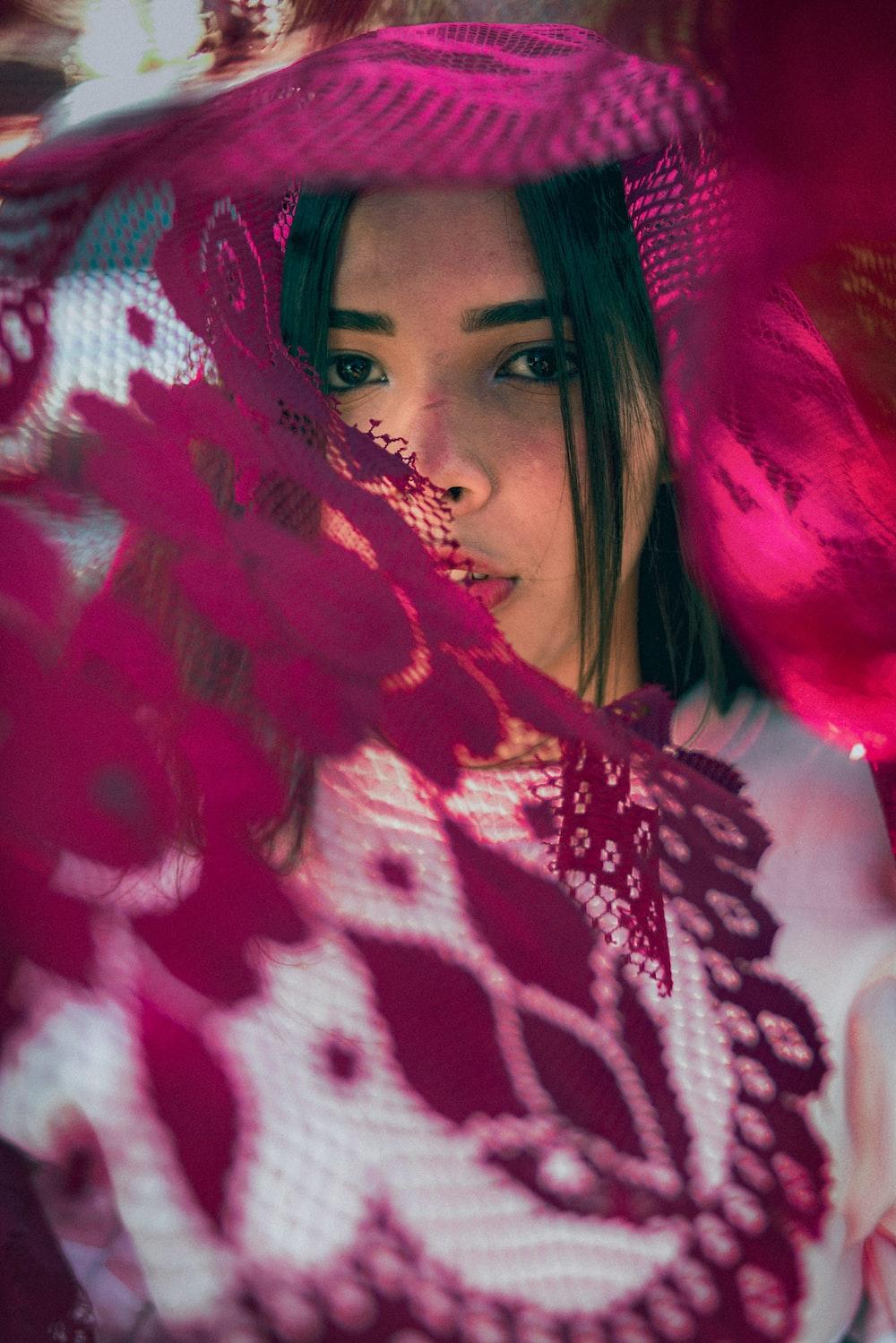 pink floral textile