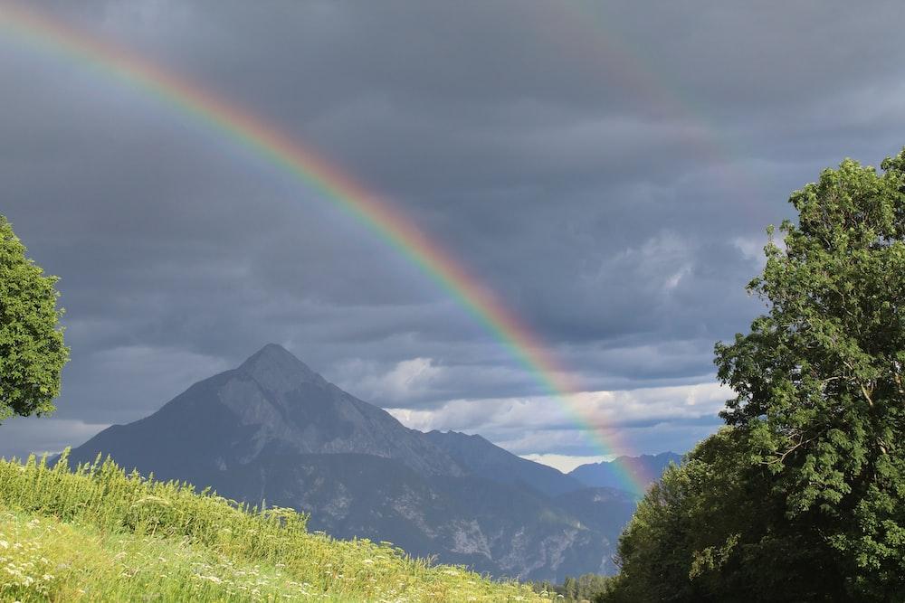 mountain with rainbow