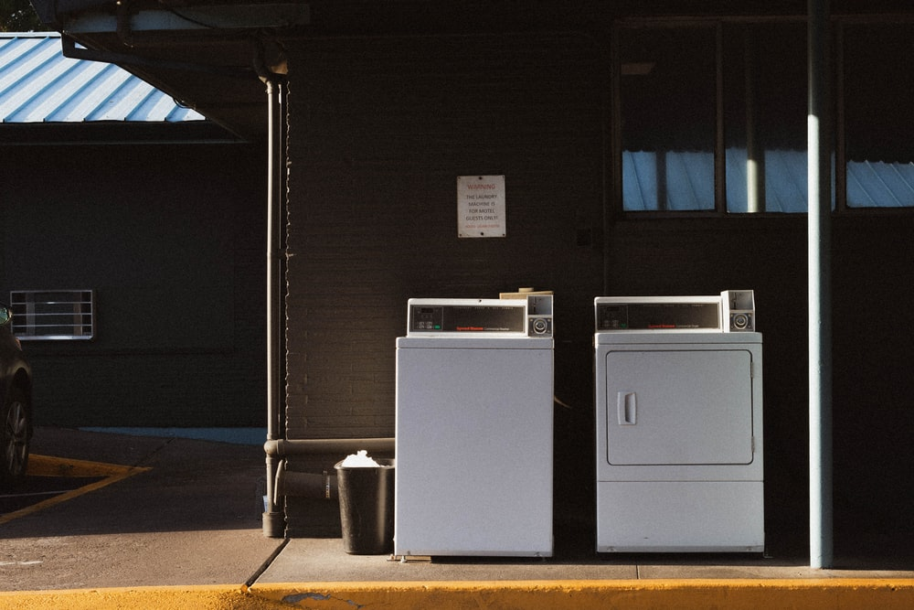 white washer and dryer