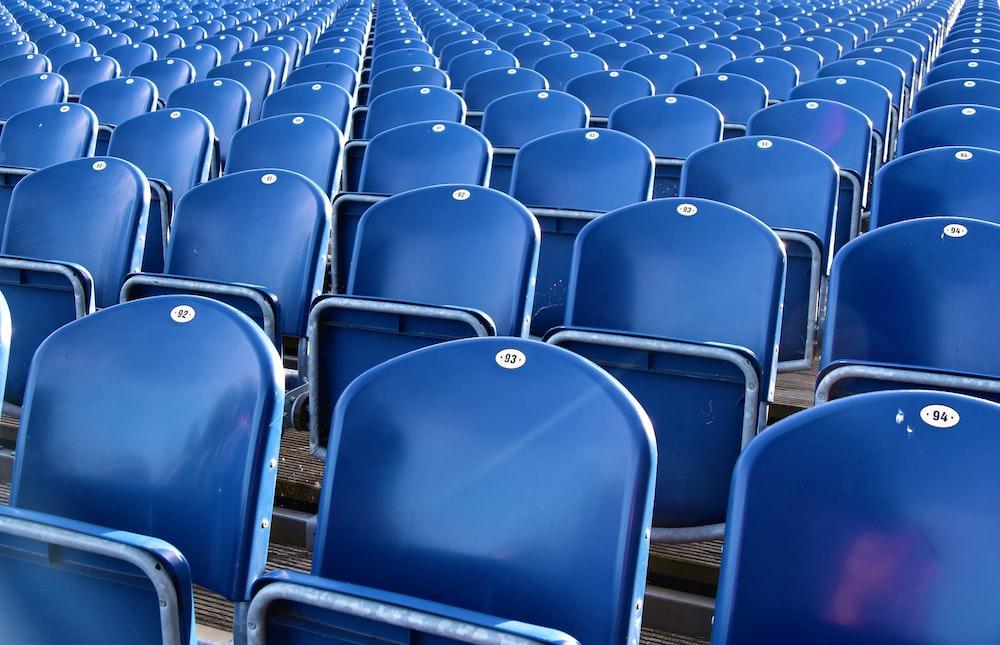 blue folding chairs lot