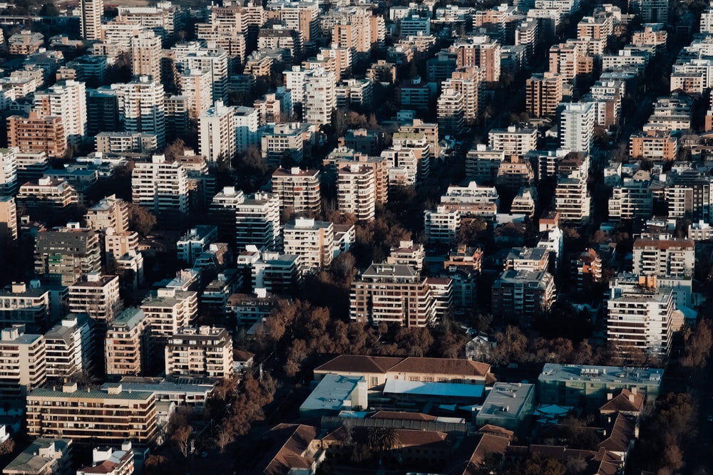 aerial photography of concrete buildings