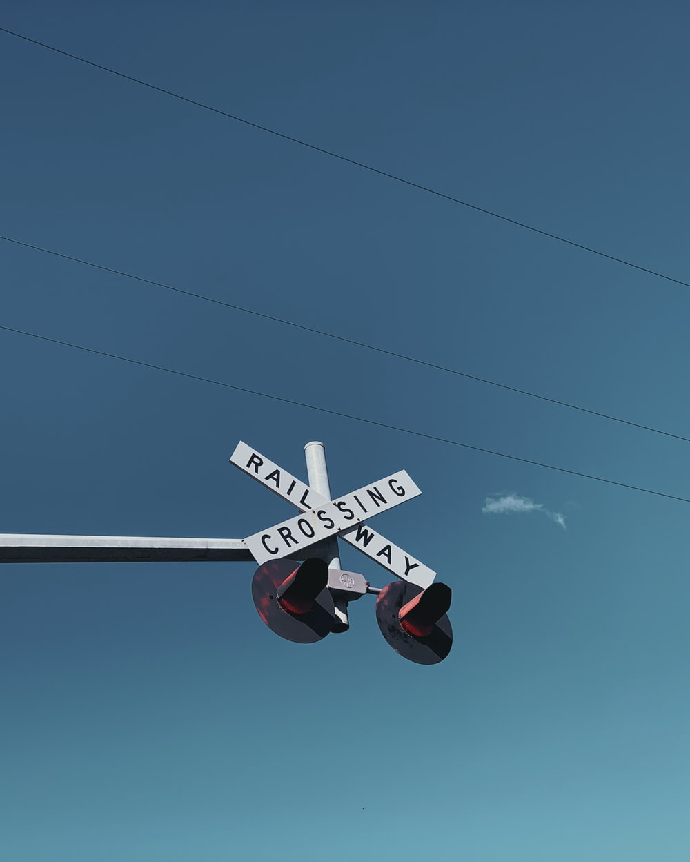 sign of crossing railway