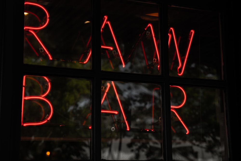red Raw Bar neon signage