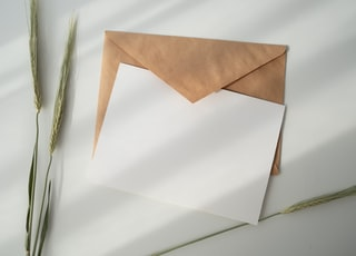 white paper and brown envelope