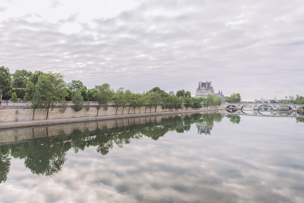 reflection of trees on body of water under cloudy sky during daytime