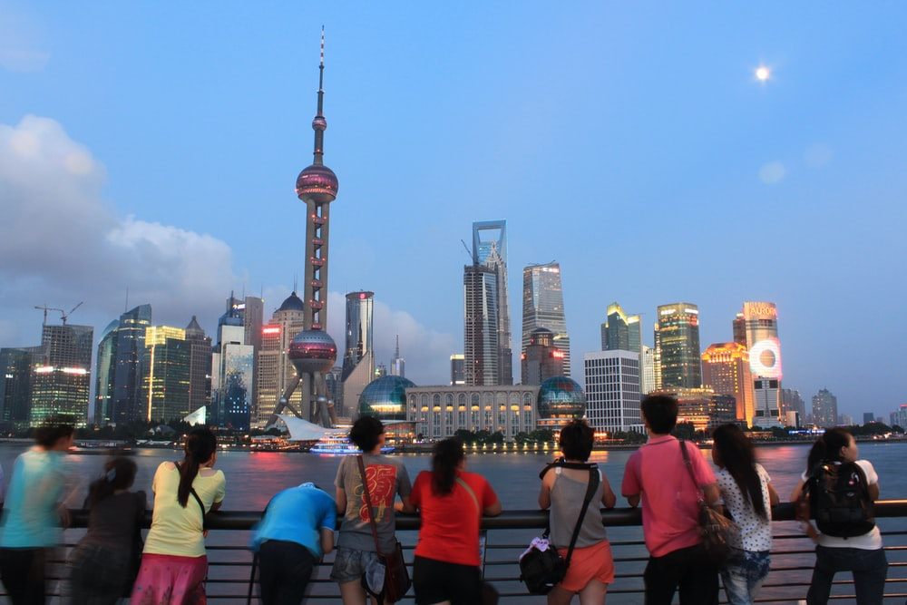people watching Shanghai Business district