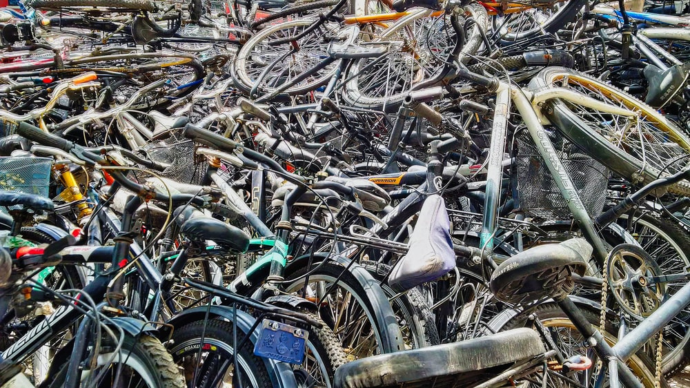 assorted-color bicycle lot