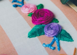 assorted-color flower embroidered decor