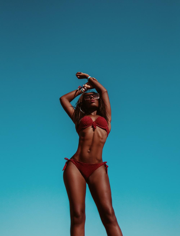 women's red bikini set