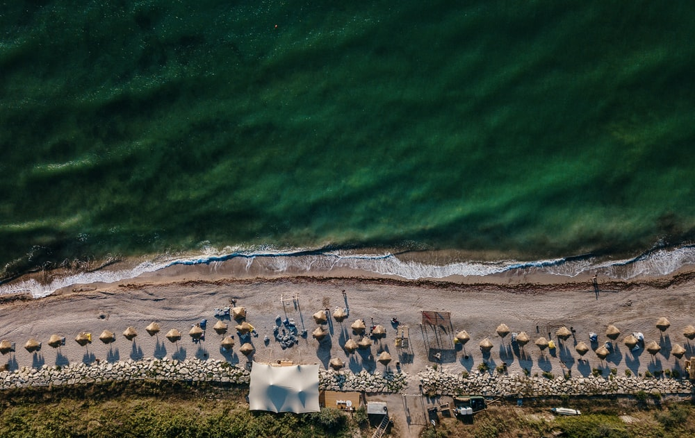aerial view of seashore