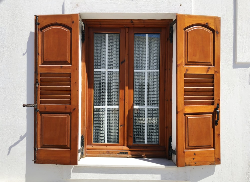 brown wooden window shutter