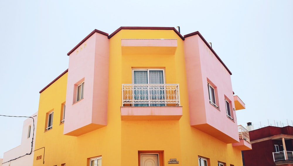 yellow and pink building