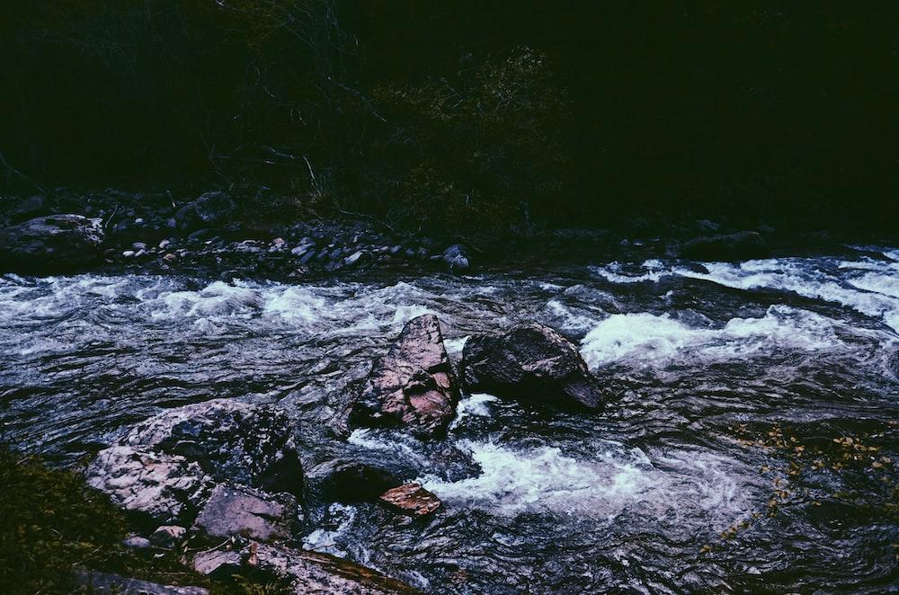 river and gray rocks