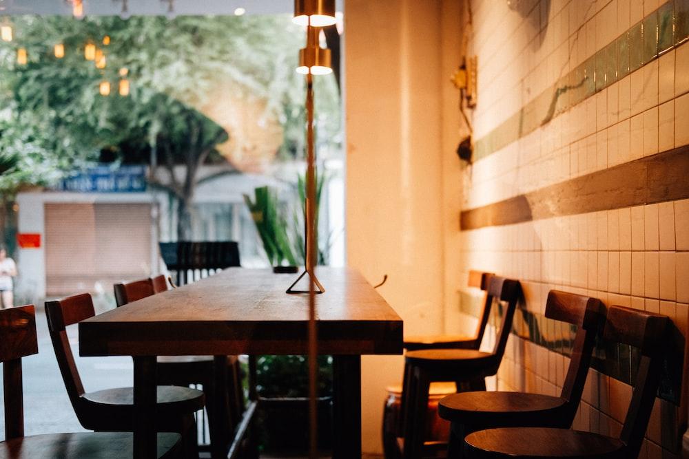 empty dining set inside eatery