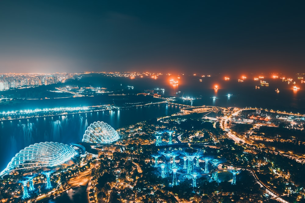 bird's eye view photography of lighted city