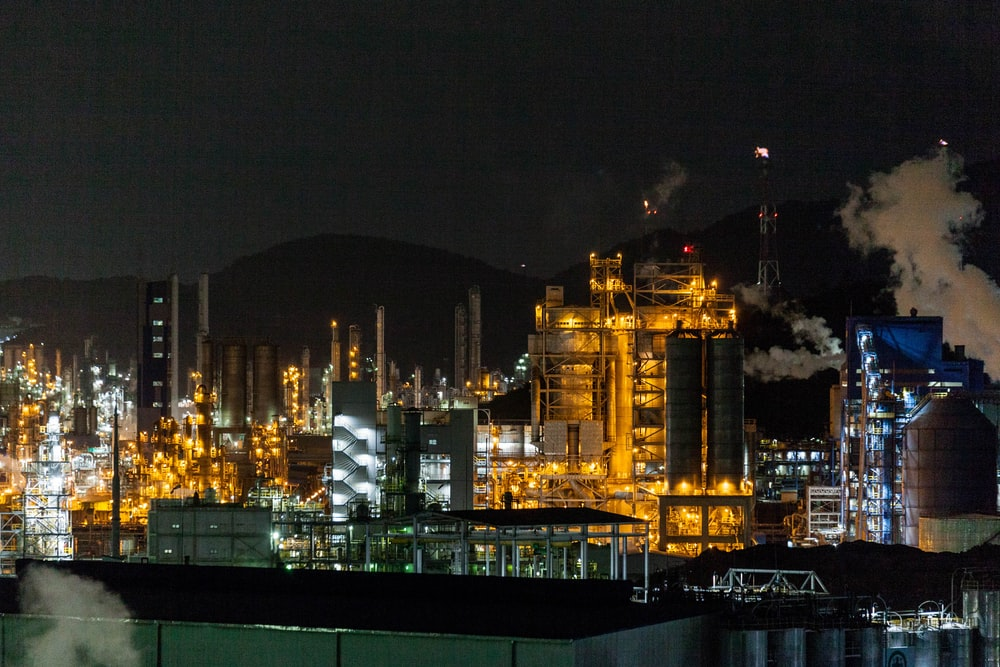 view of factory during nighttime