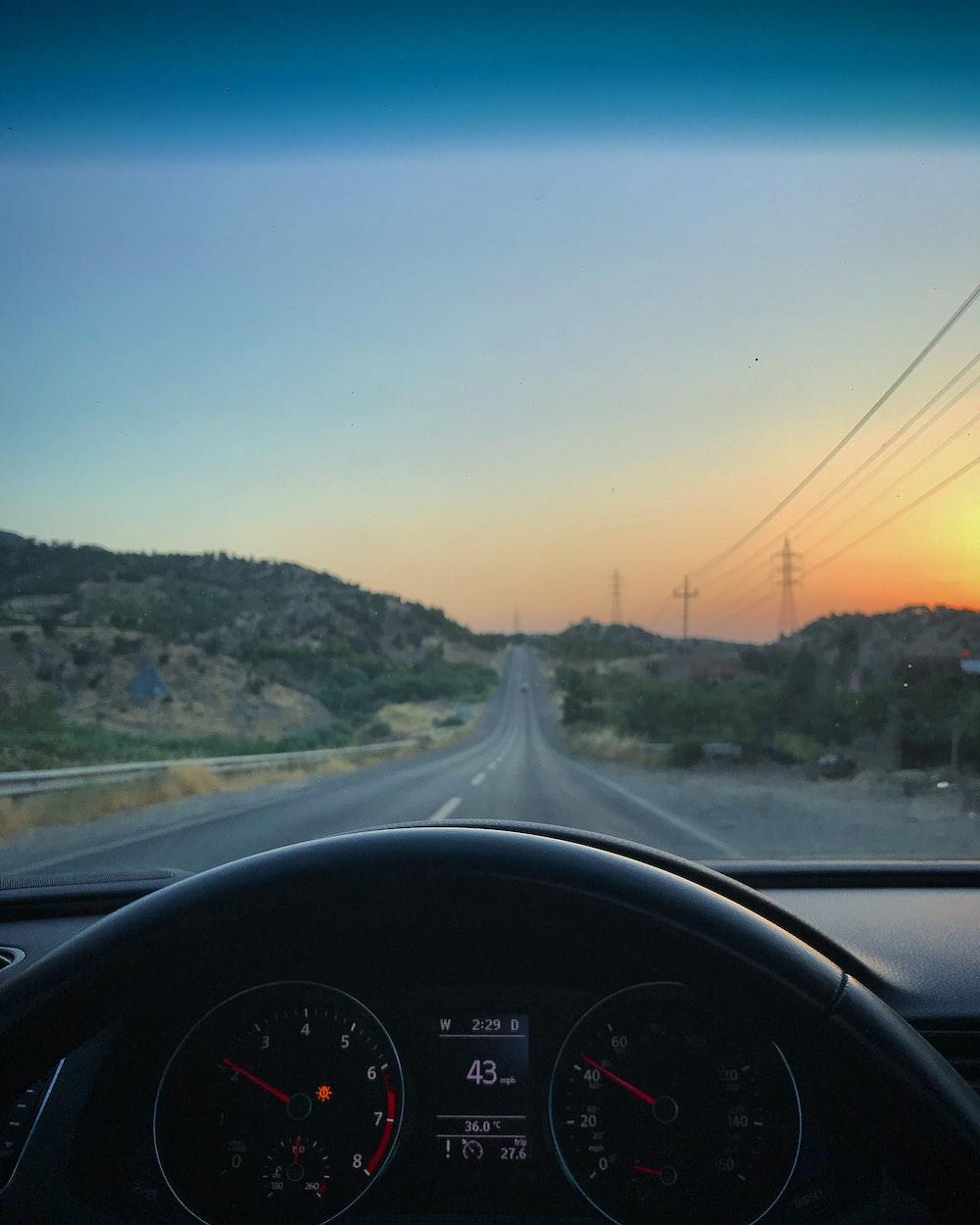 car dashboard showing 43