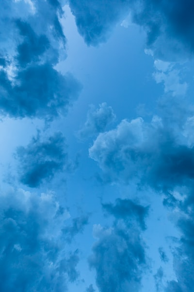 low angle view of blue clouds