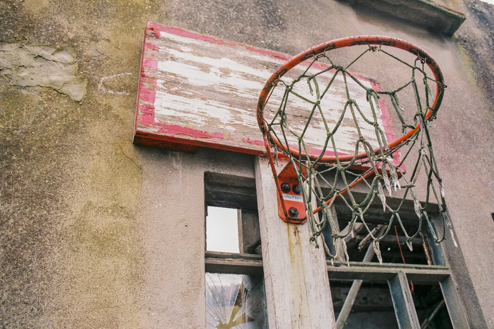 red and white basketball ring