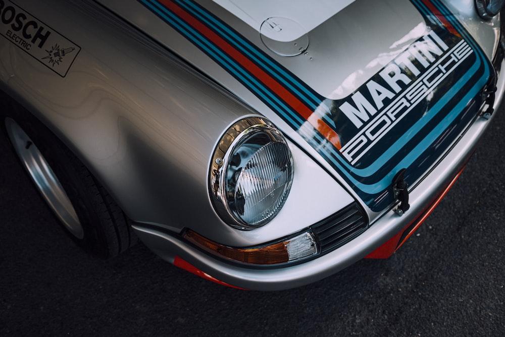 grey and blue MArtini Porsche
