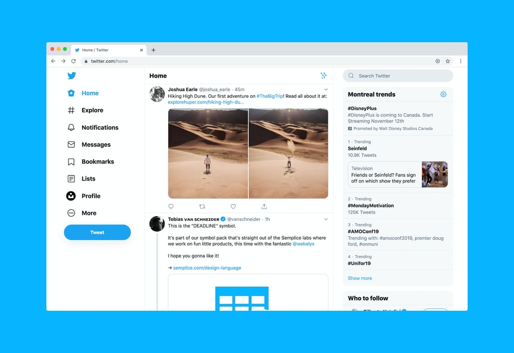 Twitter website on desktop