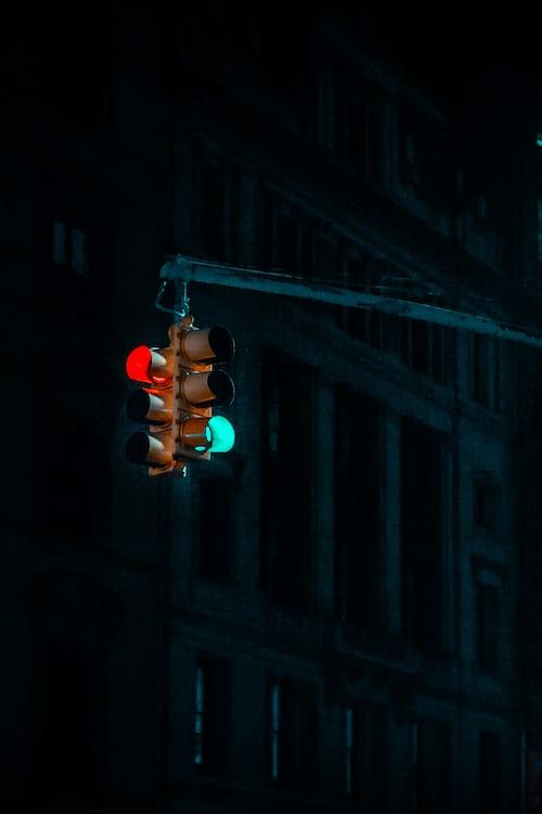 Flashing red traffic light