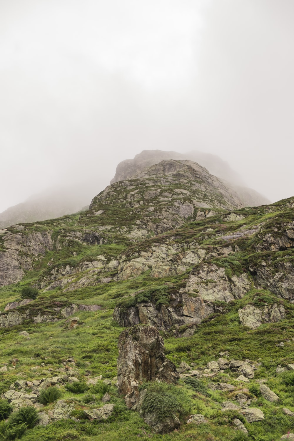 green and grey mountain