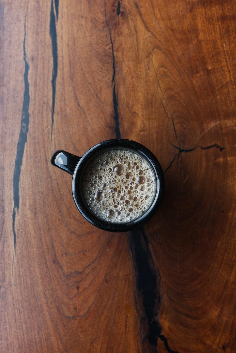 filled black mug
