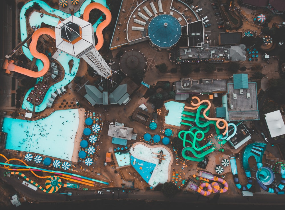 top-view of a water park