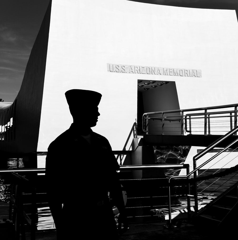man at the USS Arizona Memorial