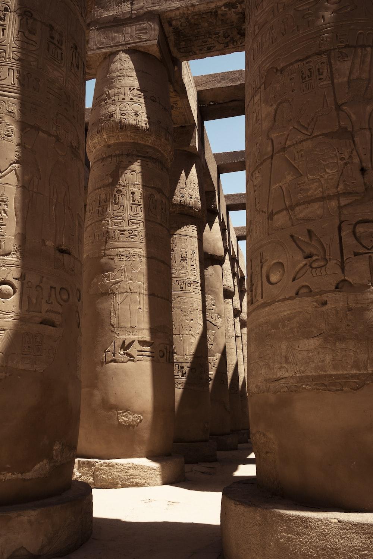 brown stone Egyptian temple ruin
