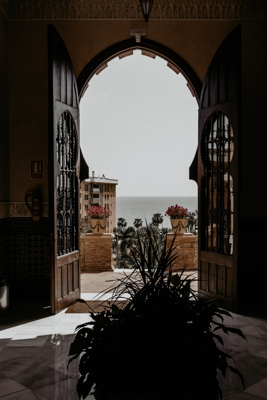 open door leading to a terrace